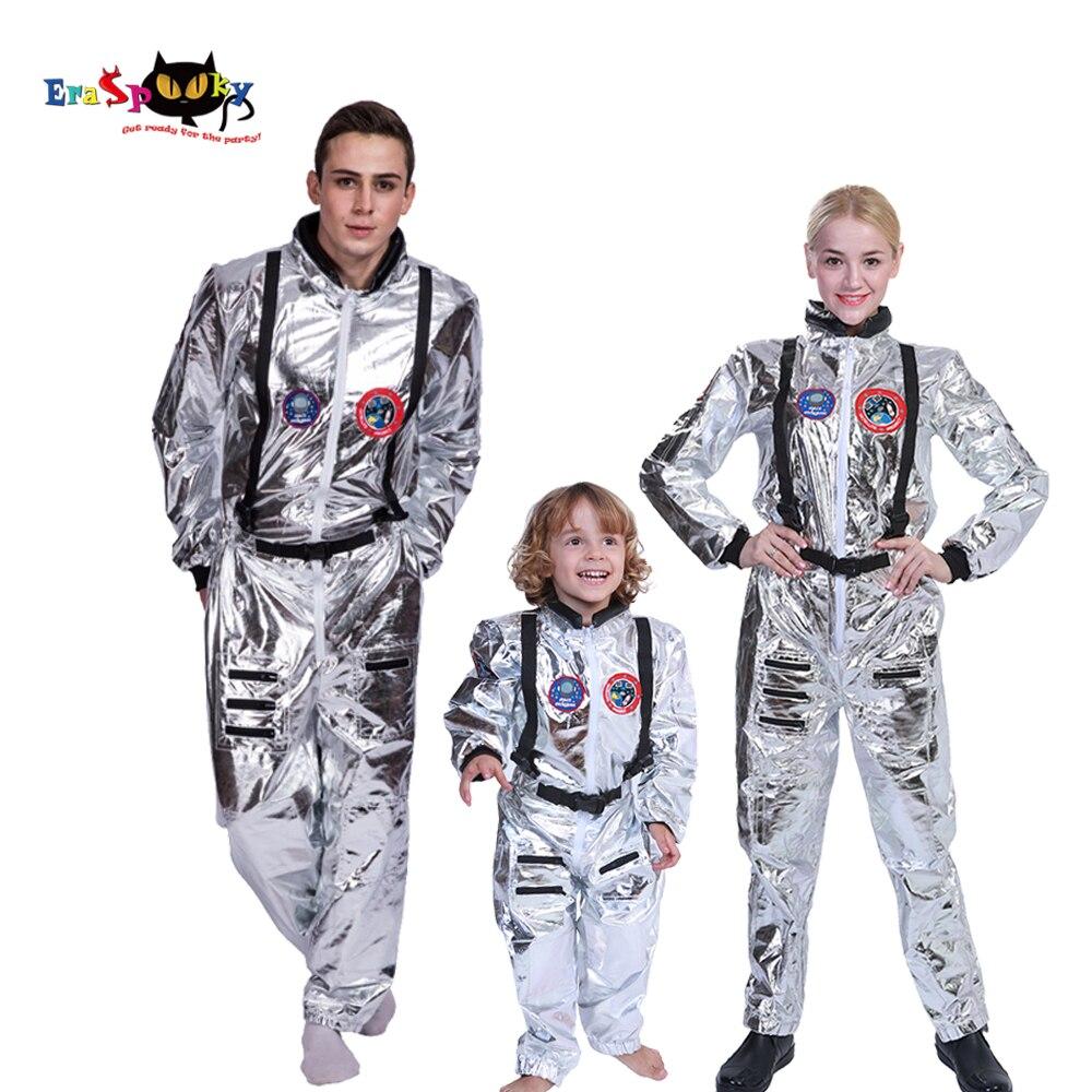 Hombres astronauta Alien Spaceman casco para Cosplay carnaval adultos mujeres pilotos trajes Halloween disfraz Grupo Familia a juego ropa