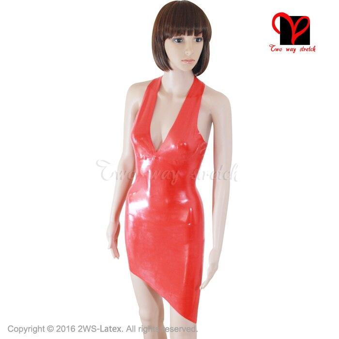 Red Sexy Vestido De Látex de Borracha V profundo Lápis mini top Mudança Escultura Assimétrica Hem cabresto Sem Encosto Playsuit XXXL plus size QZ-004