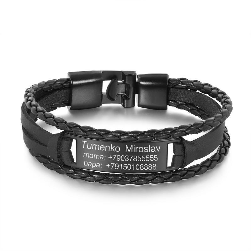 Pulseras personalizadas grabadas para hombres, pulsera de cuero negro Vintage, logotipo personalizado con letras para regalos de mi hijo, joyería para hombres
