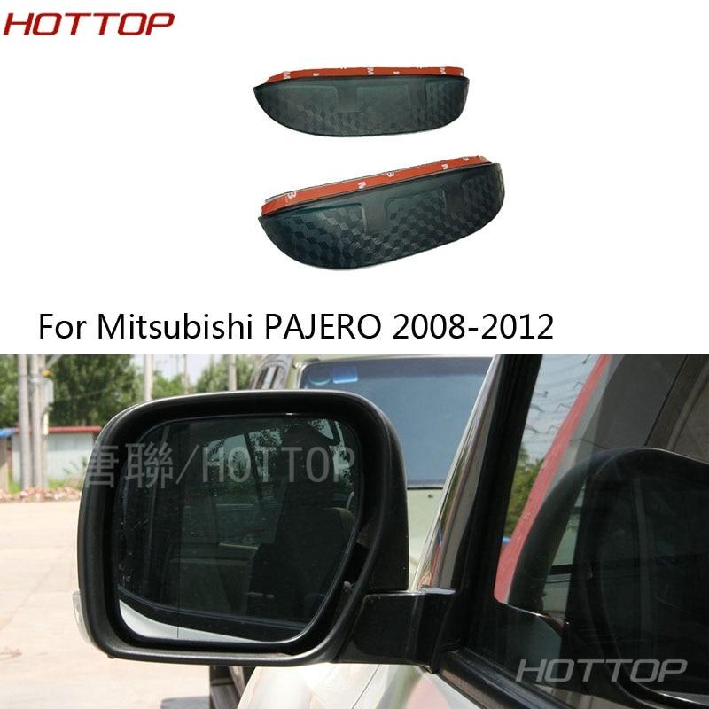 De fibra de carbono cubierta para espejo retrovisor visera del escudo de lluvia espejo lluvia cubierta tipo CEJA para Mitsubishi PAJERO 2008-2012