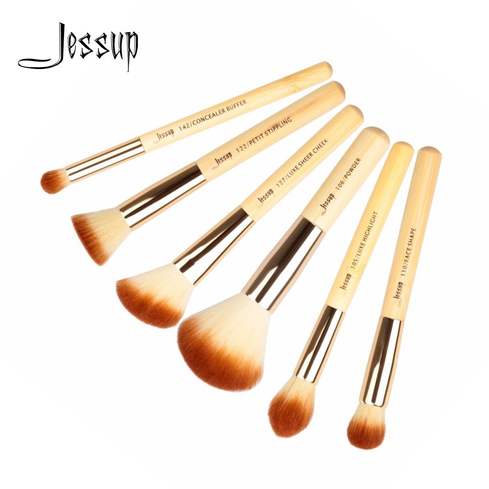 Кисти для макияжа Jessup из бамбука, 6 шт., профессиональный косметический набор для пудры и щек, набор для красоты Petit T144