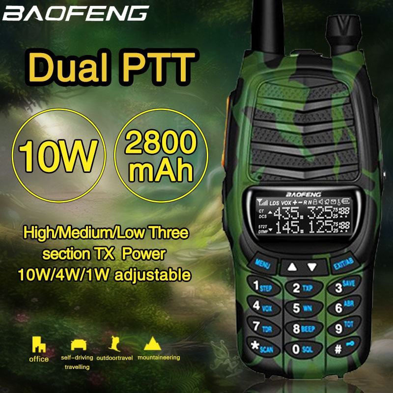 De Baofeng UV-X9 Plus 10W Dual potente PTT de doble banda VHF UHF 10km de largo alcance Walkie Talkie portátil jamón Radio CB actualizado de UV-82
