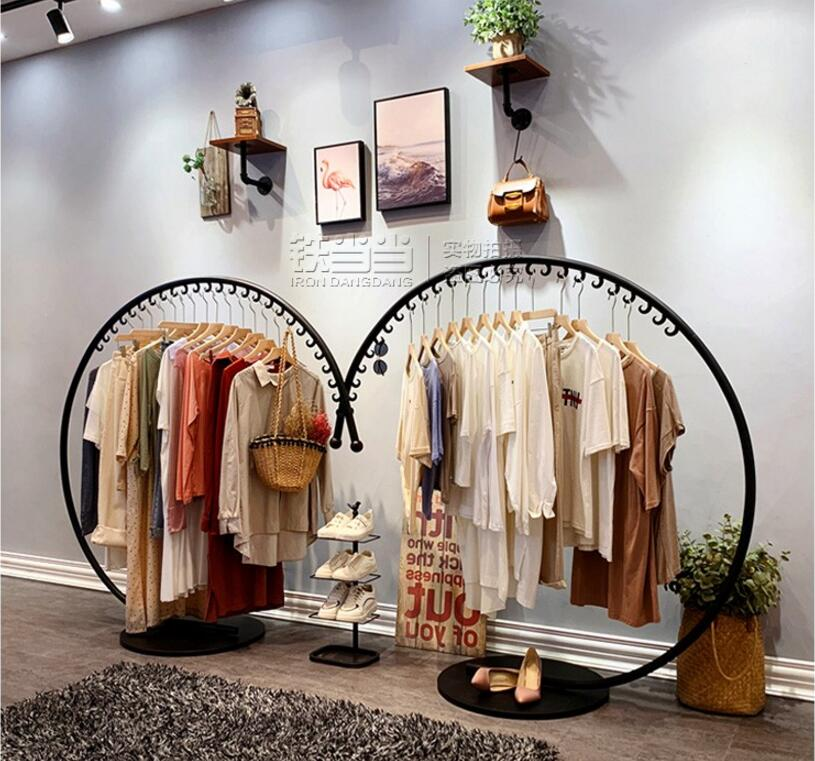 Womens clothing store rack display rack, hanging Zhongdao floor type