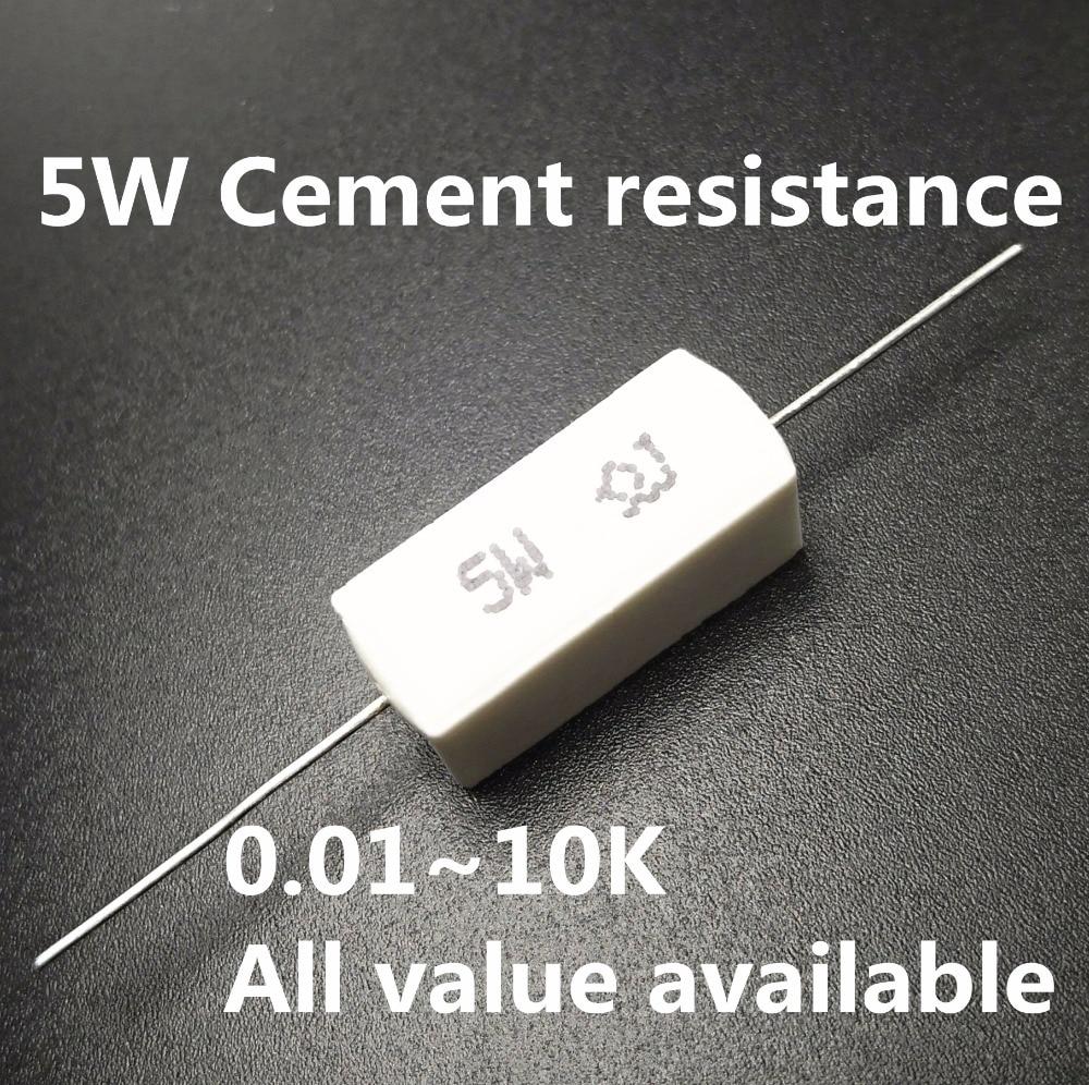5pcs 5W 0.3 0.33 0.43 0.47 0.5 0.56 1 ohm 0.3R 0.33R 0.47R 0.5R 0.56R 1R Ceramic Cement Power Resistance Resistor 5%