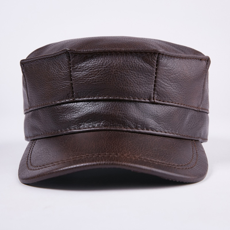 aorice new winter cotton cap genuine leather baseball cap hat men s real leather adult adjustable solid hats caps 3 colors hl132 New 100% Genuine Leather Hat Men's Baseball Cap Adult Winter Warm Leather Cap Adjustable Ear Peaked Cap New Year Gift B-7202