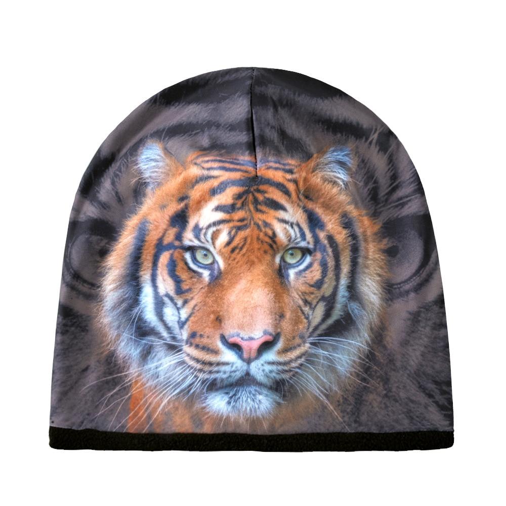 Beanie Men Tiger Slouch Autumn Winter Knit Hat Warm Fleece Lining 3D Print Ski Accessory Soft Casual Outdoor Headwear