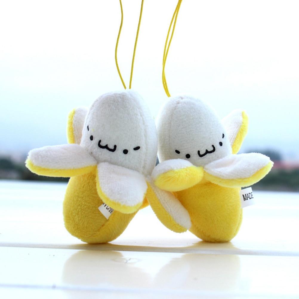 Linda correa de teléfono móvil encanto teléfono móvil pelado plátano peluche muñeca colgante con tira para teléfono móvil accesorios de decoración