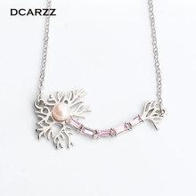 Pendentif neurone couleurs or avec perle rose et cristaux collier bijoux médicaux cadeau pour docteur/infirmière chimie bijoux