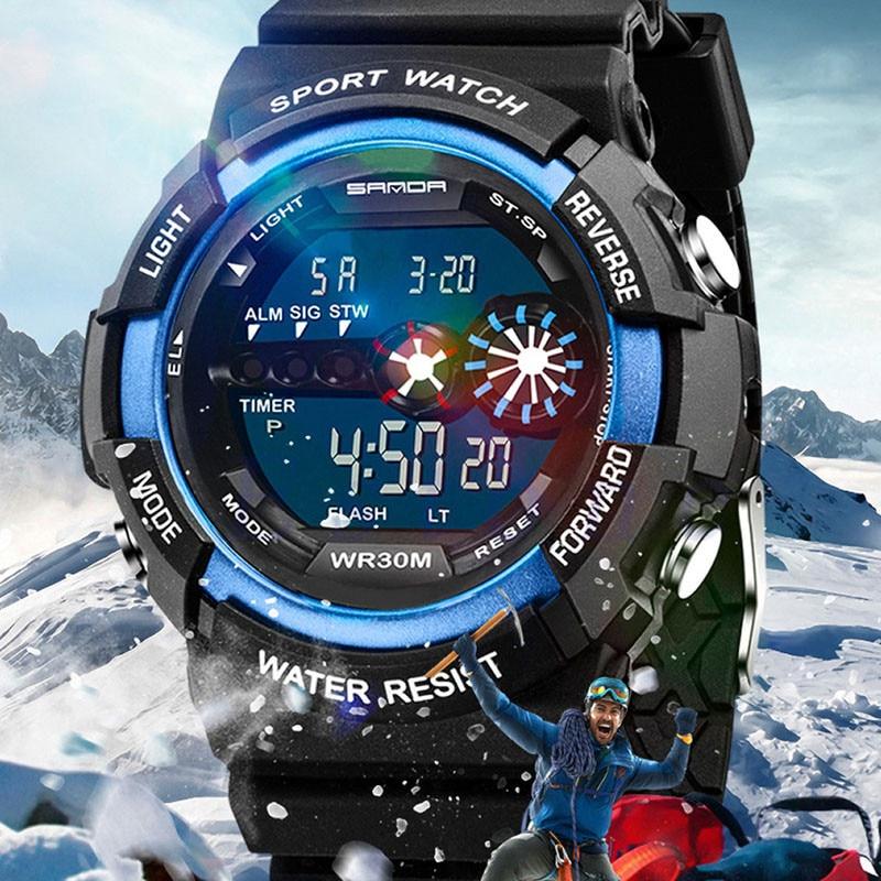 Fashion Mens watches 2019 Rubber&Stainless Steel LED Digital Date Alarm Waterproof Sports Army Quartz Watch zegarek damski a50