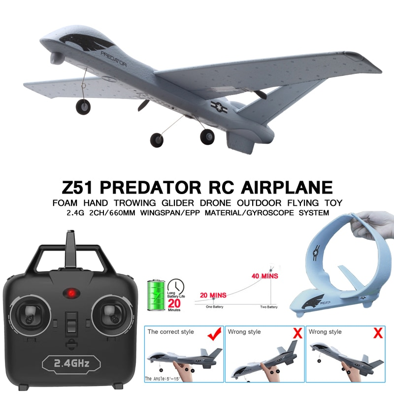 RC Plane 20 Minutes Flight Time Glider Toy Plane With LED 2.4G Remote Control Hand Throwing Wingspan