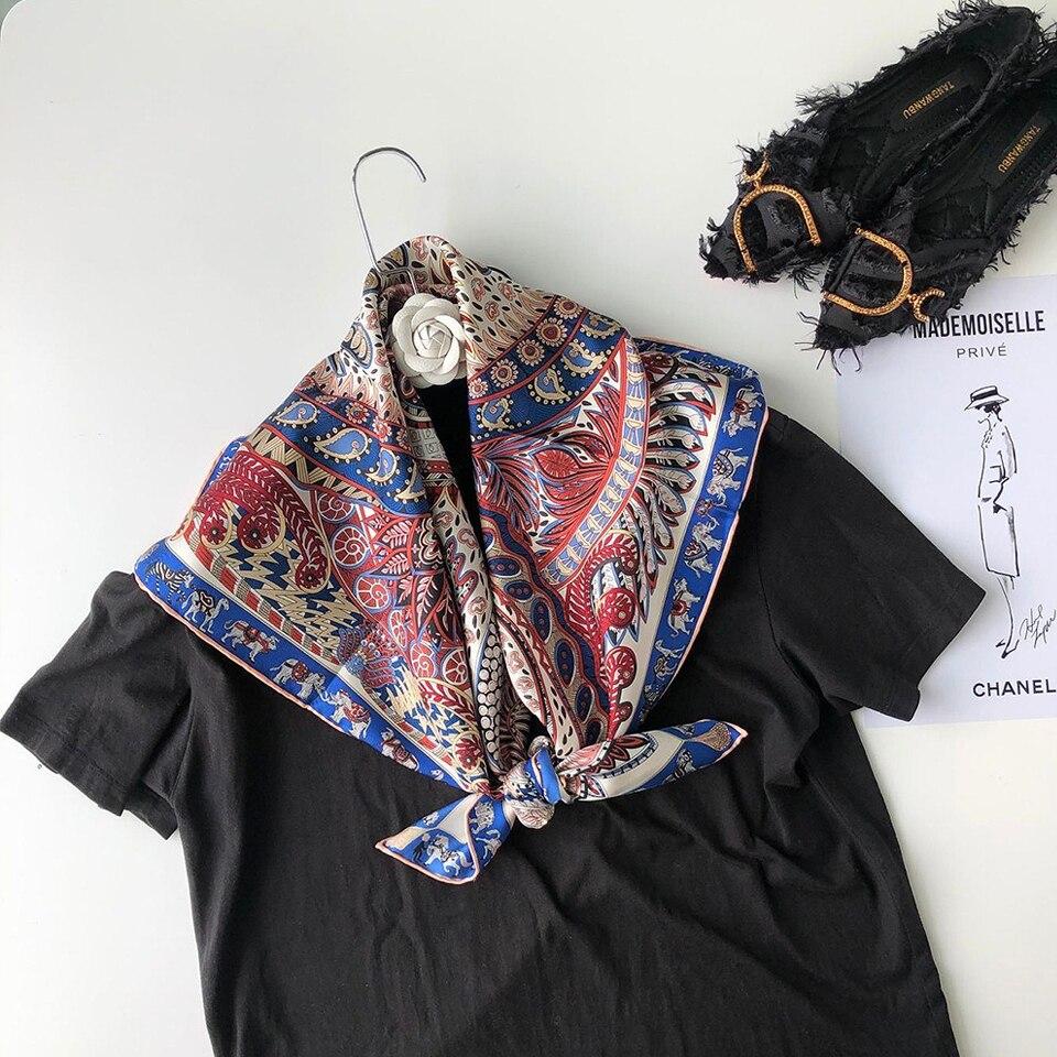 100% bufanda de sarga de seda para mujer diadema chal Hijab pañuelo poncho de bufandas Foulard patrón de flores de animales de lujo 90*90cm