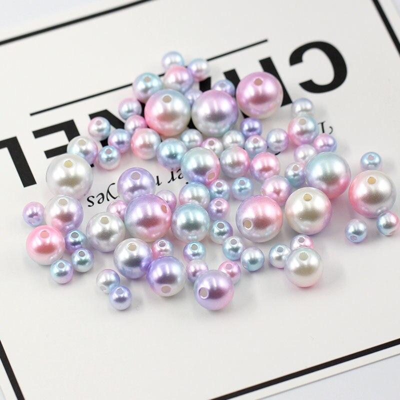 6mm-12mm Multicolor ABS perlas redondas lisas Estilo vintage con agujeros de resina perlas sueltas collar pulsera accesorios DIY