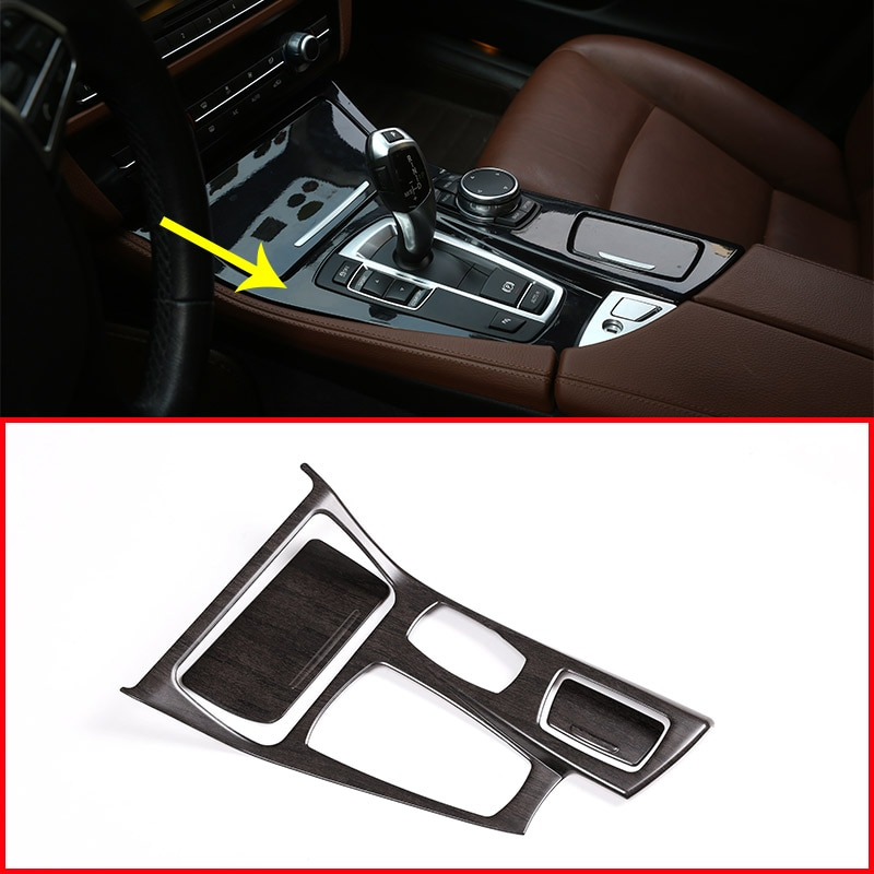 Oak Wood Colour For BMW 5 Series F10 2014-2017 520li 525li 530li ABS Center Console Gear Shift Panel Cover Trim Car Accessories