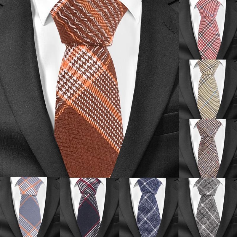 Повседневный клетчатый мужской галстук, Классические хлопковые галстуки для мужчин, строгие Узкие галстуки для свадебной вечеринки, ширин...