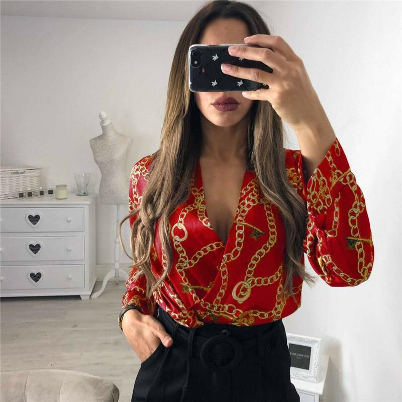 Women Print Blouse Shirt Long Sleeve Blouse V-neck Shirts Casual Blackless Tops Blouse Chemisier Femme Blusas Mujer de Moda 2019