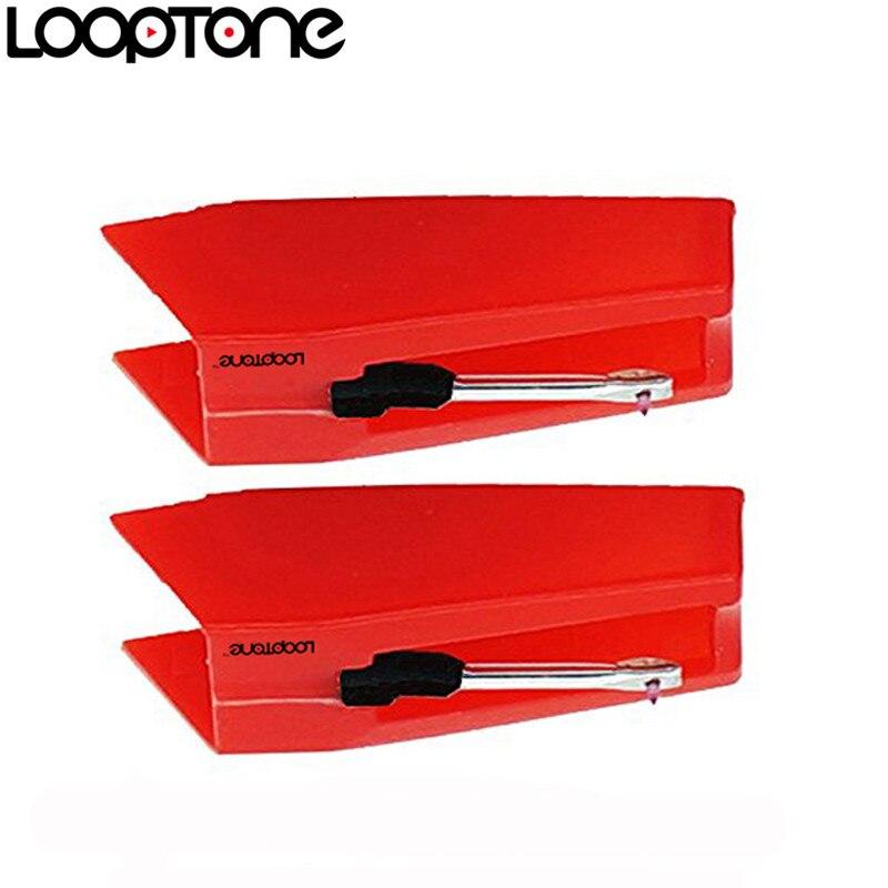 Bolígrafo de aguja de cerámica con punta de zafiro de 2 uds LoopTone para tocadiscos de vinilo LP, accesorio de gramófono