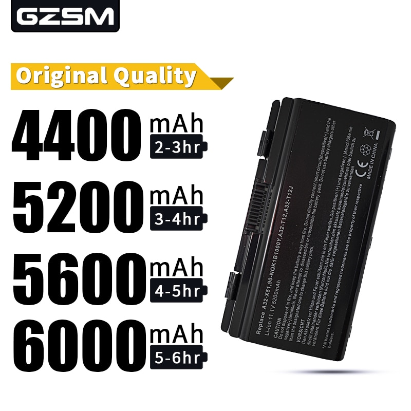 HSW 5200MAH batería para asus A31-T12 A32-T12 A32-X51 T12C T12Er T12Fg T12Jg T12Mg T12Ug X51H X51L X51R X51RL X58 X58C X58L X58Le