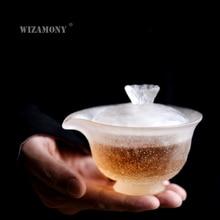 1PCS WIZAMONY Chinese Kung Fu Tea set gaiwan teapot teacups fair mug tea set Japanese Lotus ice colored glaze puer Drinkware