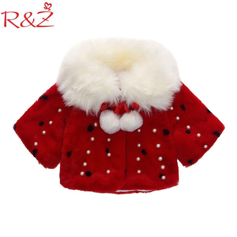 R & Z/пальто для маленьких девочек, новинка зимы 2019, жемчужный плащ с кроликом, Корейская кашемировая куртка с жемчужными пуговицами, детская ...