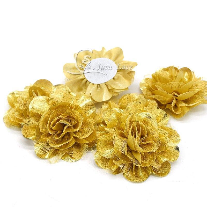 2017 Mini DIY Flowers Kids Boutique-3.75inch shiny chiffon lace flower 20pcs/lot,shinny glitter golden fabric flower -