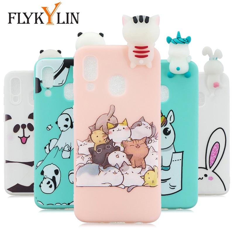 FLYKYLIN Cat Unicorn Case For Samsung Galaxy A70 A50 A40 A30 A20E A20 A10 M10 M20 Back Cover on Silicon 3D Doll Toys Phone Coque