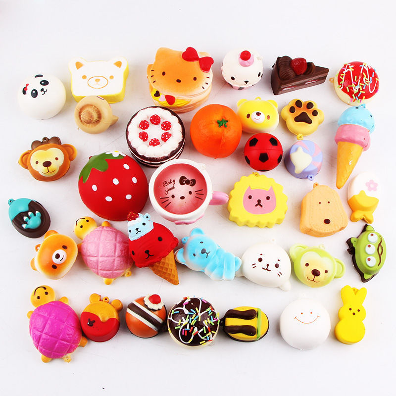 Wholesale 30pcs Squishy Toys Children Slow Rising Anti stress Toy Animal Panda Bread Cake Squishy Relief Toy Funny Kids Gift enlarge