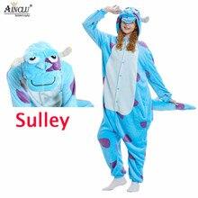 Mulher animal onesie monstro sullivan kigurumi sully pijama engraçado terno adulto dos desenhos animados azul vaca macio quente macacão fantasia fantasia