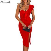 Ocstrade ชุดสำหรับสตรี2021ฤดูร้อนผ้าพันคอสีแดง Elegant Ruffles เซ็กซี่หนึ่งไหล่สีดำชุด Bodycon Club Outfts