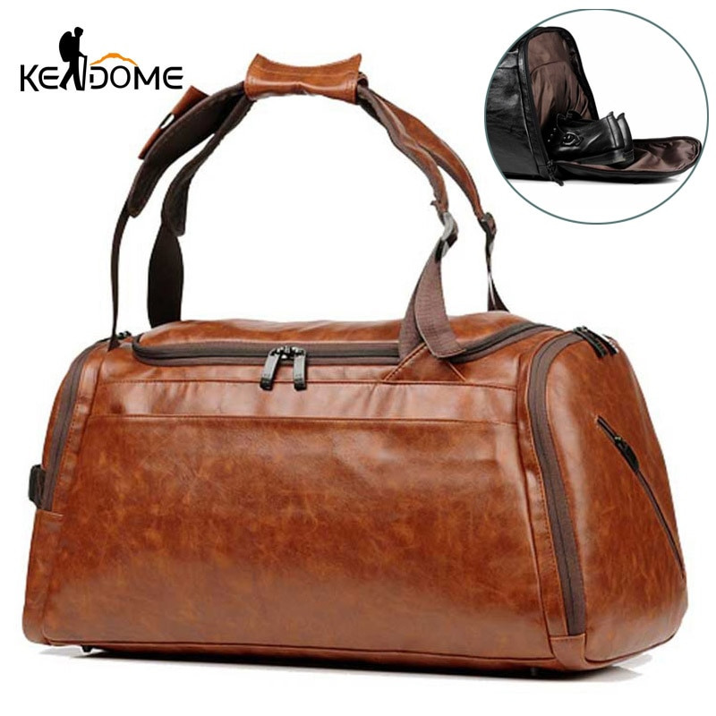 Bolso de gimnasio para hombre con compartimiento para zapatos, mochila de PU para Fitness, mochila impermeable de cuero para viaje, bolso de hombro para exteriores XA819WD