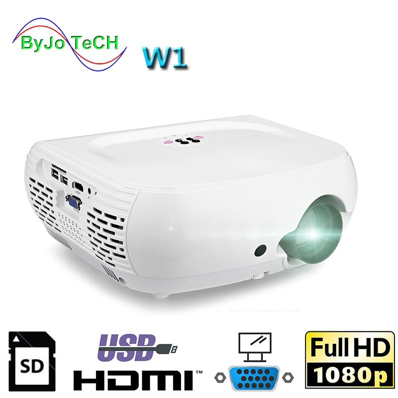 ByJoTeCH-Proyector LED W1 Full HD1080P, 2500 lúmenes, 3D, vídeo doméstico, cine, HDMI,...