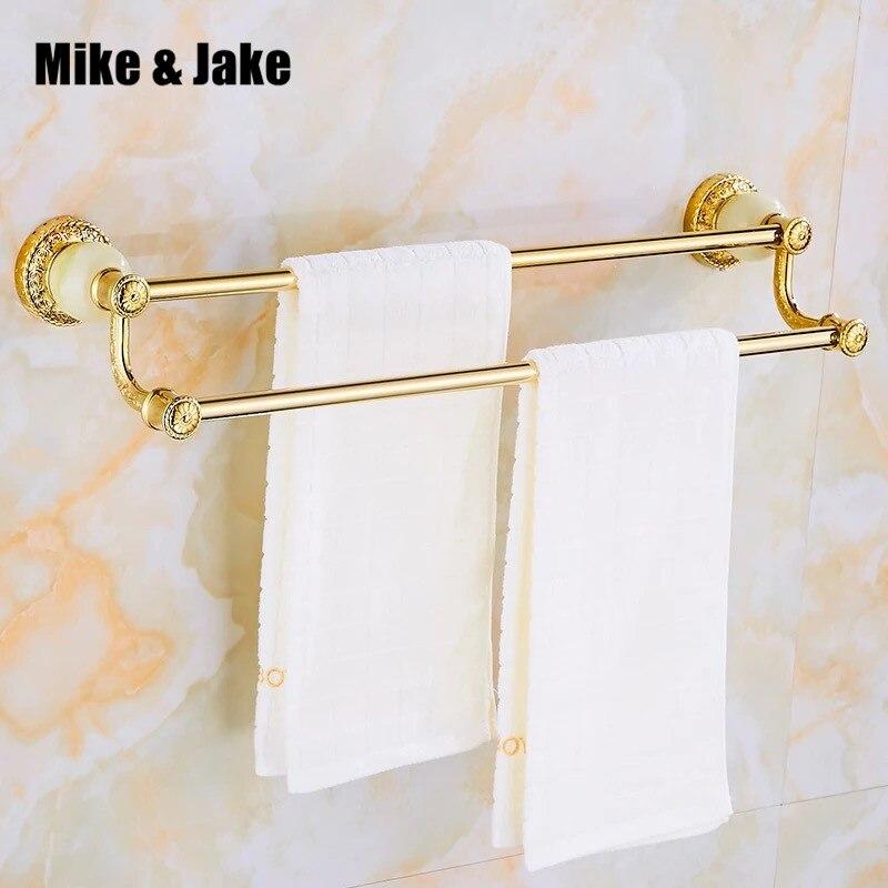 قضيب منشفة مزدوج ذهبي فاخر مع اليشم ، رف مناشف 60 سنتيمتر ، ملحقات الحمام ، قضيب مناشف الحمام