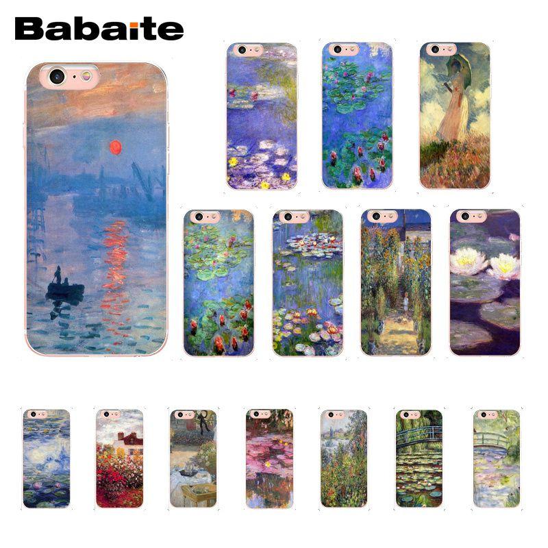 Babaite Claude Monet Garden Lotus Bridge Pattern TPU Soft Phone Case for iPhone 6S 6plus 7 7plus 8 8Plus X Xs MAX 5 5S XR 10