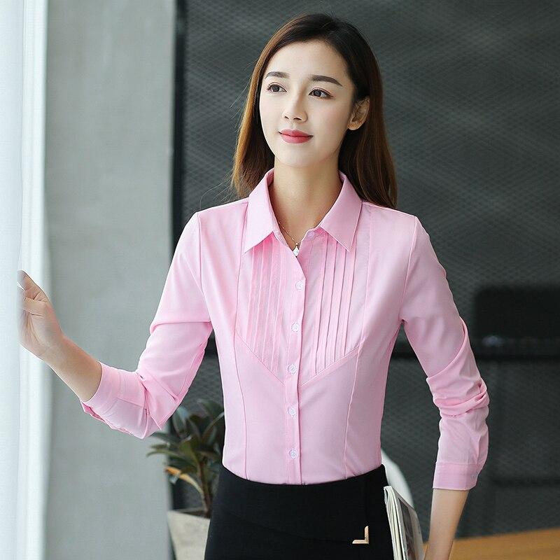 Maxi 5XL Formal Women Long Sleeve shirt blouse ladies Casual Plain OL Blouse work Shirt chemise Top blusas femininas elegante