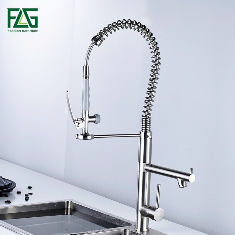 FLG Brush kitchen faucet pull out torneira cozinha nickel sink mixer faucets tap