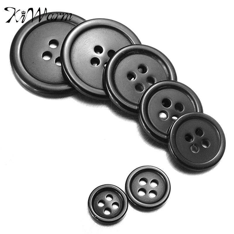 10 unids/set Retro botón negro de resina decoración para manualidades de costura ropa abrigo DIY accesorios decorativos 8 tamaños 4 agujeros