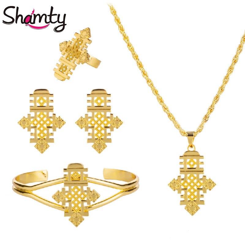 Shamty/хит продаж, комплекты ювелирных изделий из эфиопской кожи, с коптскими крестами, чистого золота, серебристого цвета, комплекты, Нигерия, Эритрея, кенийский стиль Habesha, A30005