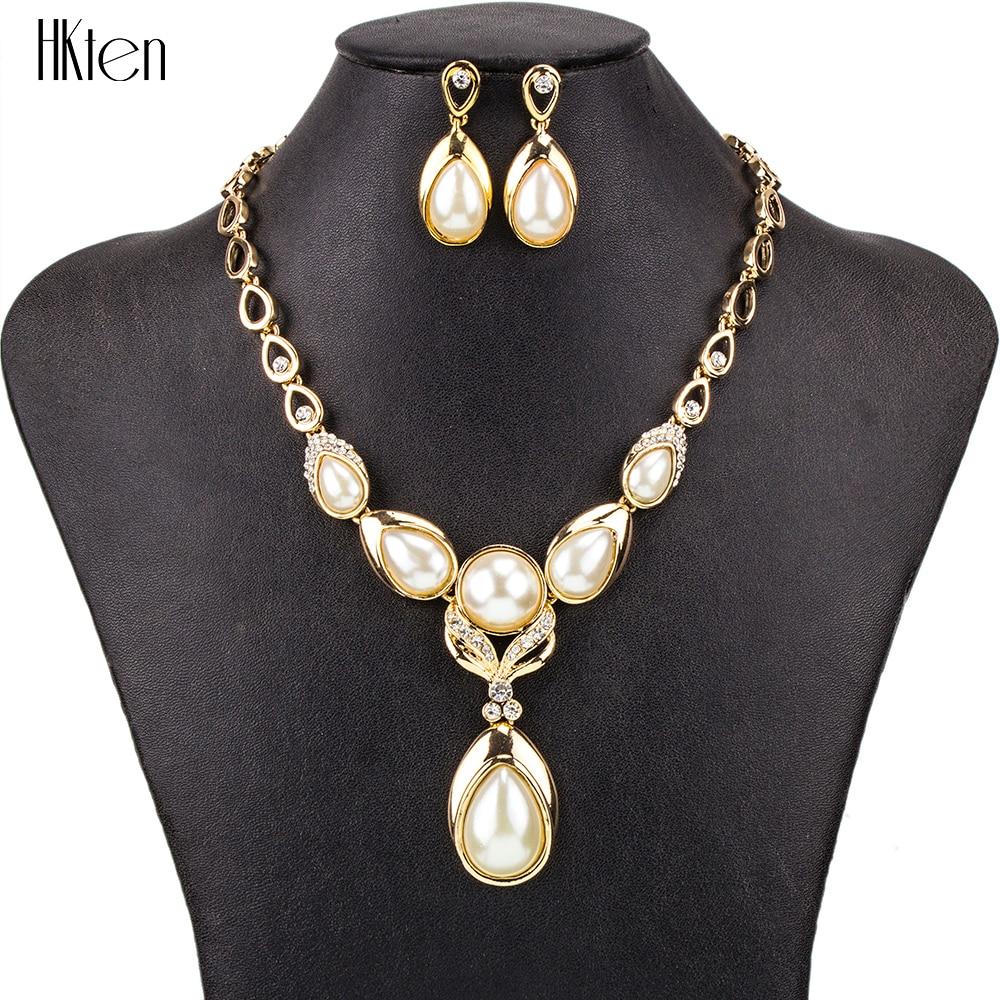 Ms1504498 conjuntos de jóias moda alta qualidade 2 cores colar conjuntos para o casamento feminino placa de ouro imitação pérola crtstal design