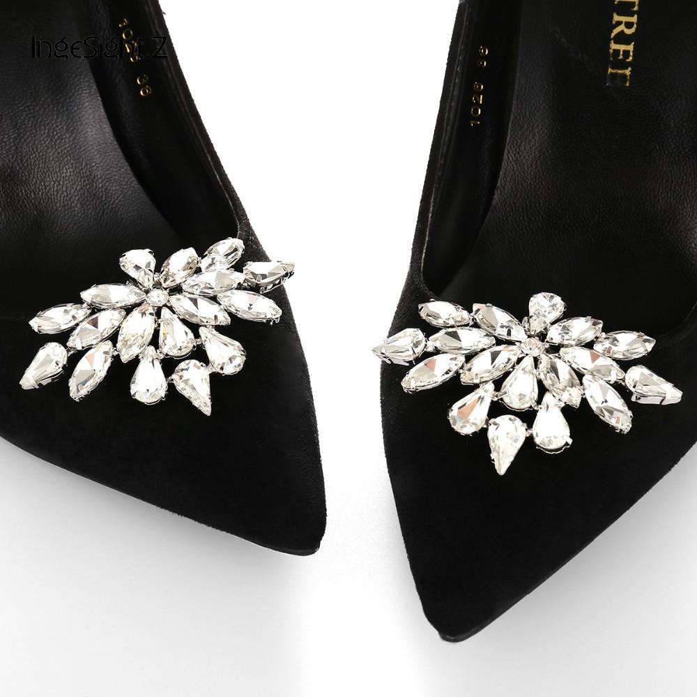 IngeSight.Z 2 Pieces Charm Glass Drill Shoe Decoration Women Anklet Elegant Shoe Clip Prom Bridal Wedding Jewelry Accessories