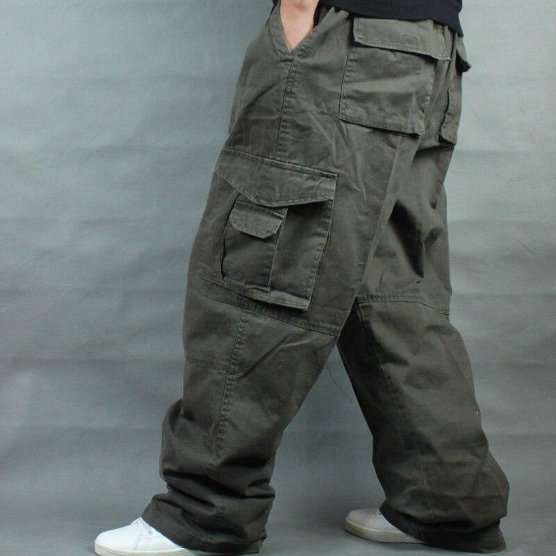 Carga Calças Hip Hop Homens Calças De Algodão Casuais Reta Solto Corredores Streetwear Largas Calças Perna Larga Plus Size Homem Roupas