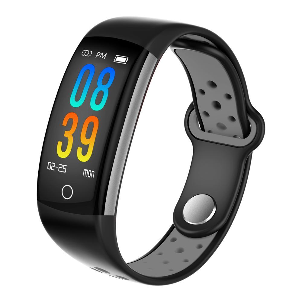 Leic Q6 pulsera inteligente Bluetooth deportes Fitness mujeres hombres reloj Tracker ritmo cardíaco banda de presión arterial Color pantalla pulsera