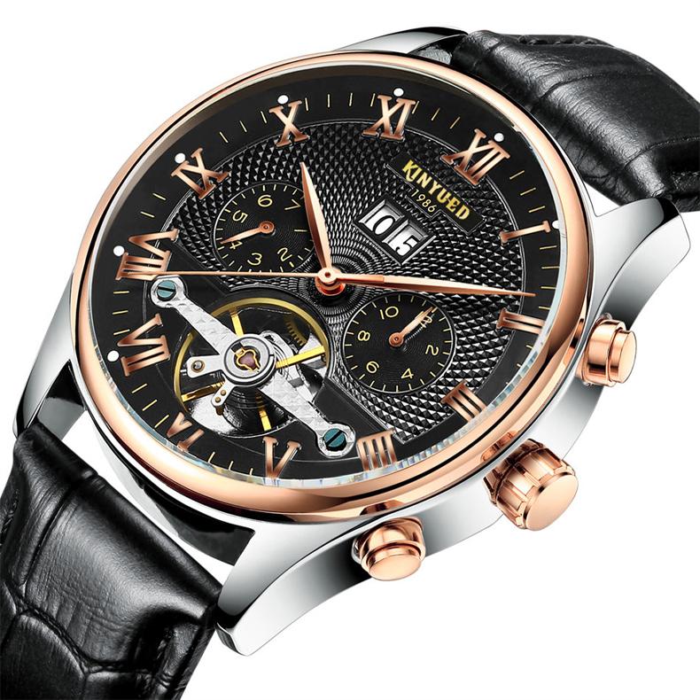 Kinyued Skeleton Watch Mężczyźni Automatyczna Wodoodporna Top Marka Męskie Zegarki Mechaniczne Skóry Kalendarza Złota Róża Relógio Masculino 2