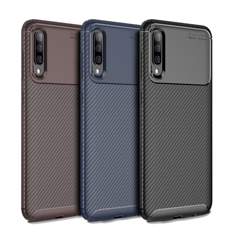 Caja del teléfono de silicona Cubierta de fibra de carbono para Samsung Galaxy A20 A30 A50 A50S A30S 2019 20 30 50 30S 50S 32/64 GB mundial