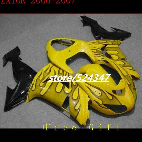 B gran oferta de fabricantes de Ninja ZX10R 06 07 06-07 kawasaki Ninja ZX10R huevo suave amarillo motocicleta carenado de tinta negro llamas