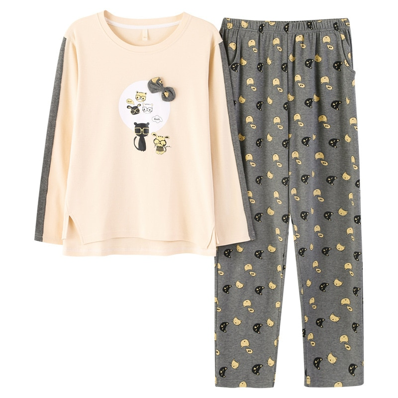 Autumn and winter cotton couple yellow comfortable pajamas female cute cartoon long-sleeved cotton home service suit can be worn enlarge