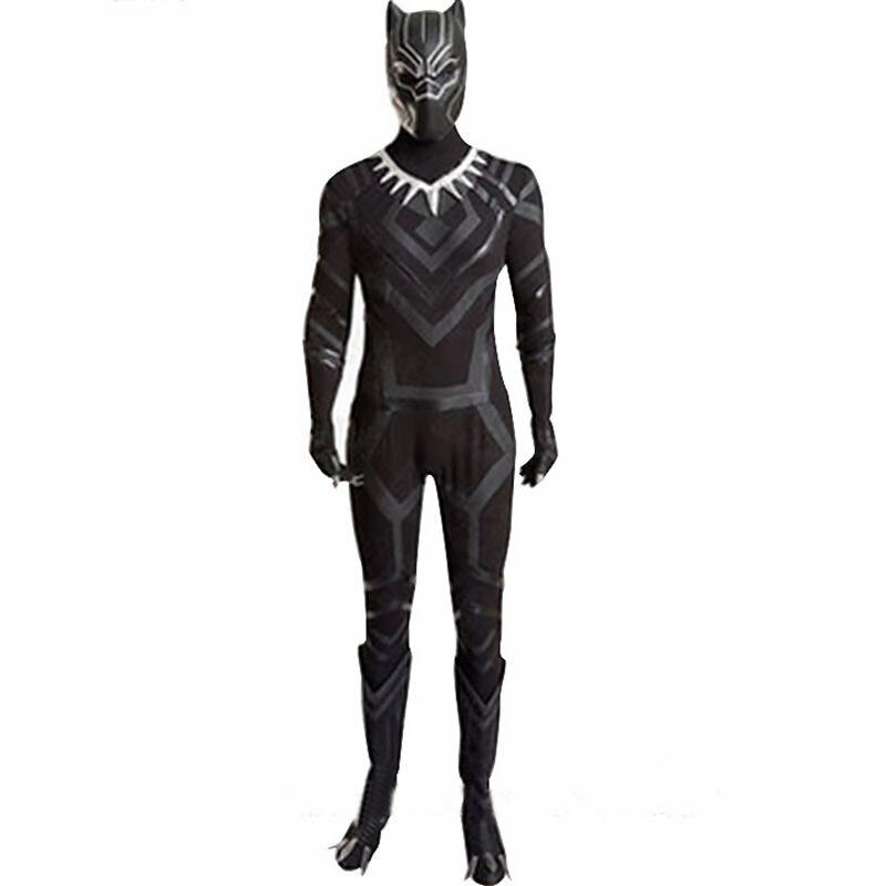 2018 Kaptan Amerika İç Savaşı Siyah Panter Kostüm Cosplay Yetişkin Erkekler Tüm Set Süper Kahraman Cadılar Bayramı Kostüm Özel