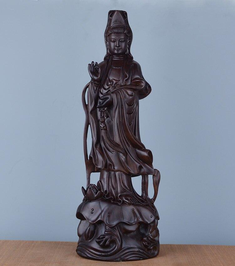 Oferta especial-30 CM de altura-hogar protección espiritual bendición familia # tallado de madera de ébano negro hecho a mano estatua de Guanyin Buddha