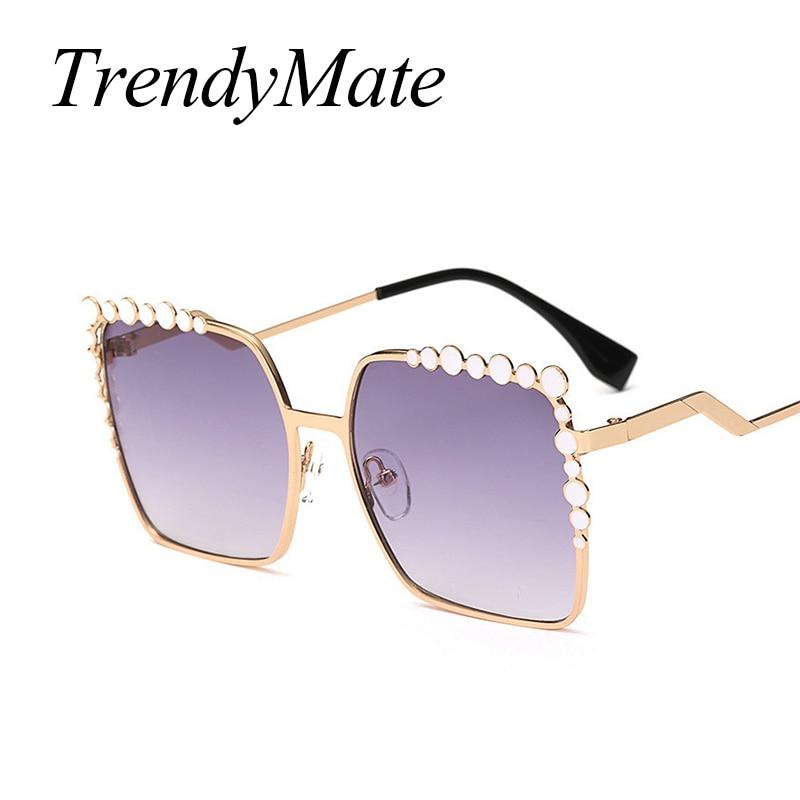 Hot Cool 2017 Square Hip Hop Fashion Brand Designer Sunglasses Women Mirror Sun Glasses Lady Flat Oversized Eyeglasses 369M