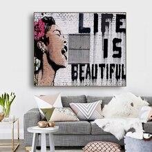 La vie est belle par Banksy mur Art décor toile peinture calligraphie affiche imprimer décoratif photo salon décor à la maison