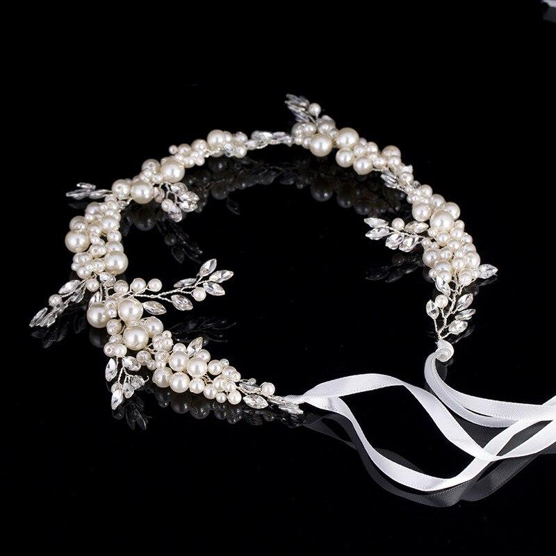 De Lujo diadema Tiara mujeres frente de cristal de perlas diadema Floral ornamentos de cabello para novia regalos para boda accesorios LB