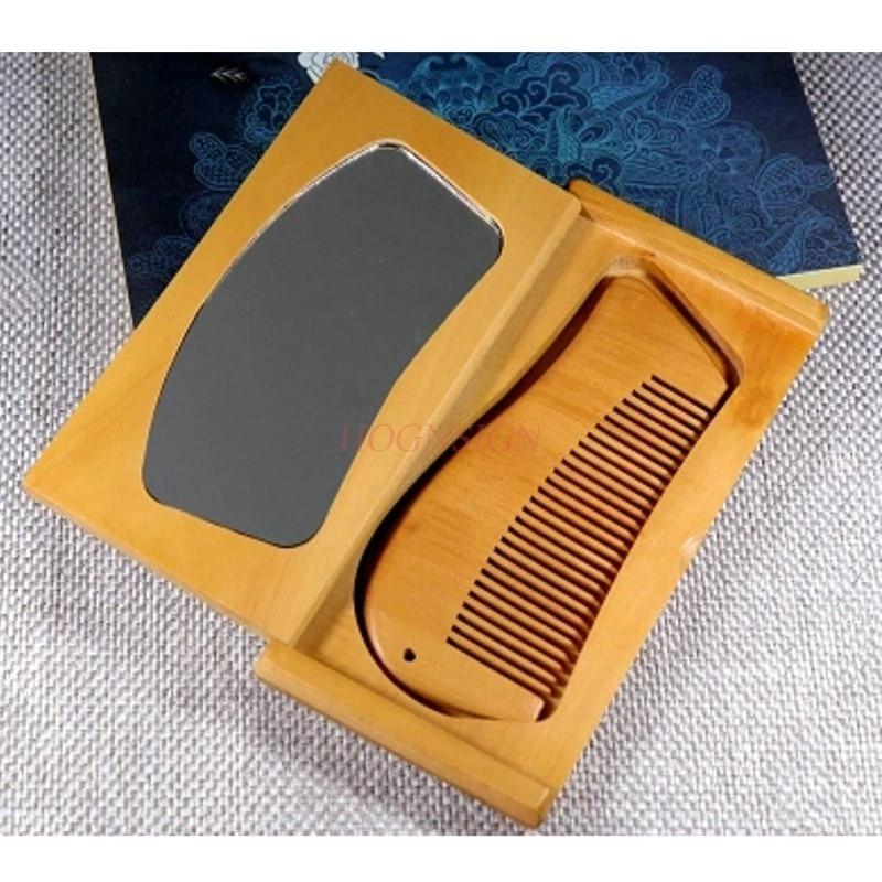 Peine de caoba, espejo plegable, peines pequeños de madera, juego de cepillo de pelo portátil, estudiante antiestático para regalo femenino, venta de peluquería